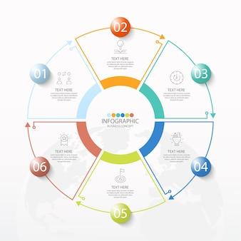 Basiscirkel infographic sjabloon met 6 stappen, proces of opties