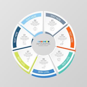 Basiscirkel infographic sjabloon met 7 stappen, proces of opties, procesgrafiek, gebruikt voor procesdiagram, presentaties, werkstroomlay-out, stroomschema, infograph. vectorillustratie eps10.