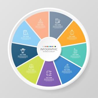Basiscirkel infographic sjabloon met 9 stappen, proces of opties, procesgrafiek, gebruikt voor procesdiagram, presentaties, werkstroomlay-out, stroomschema, infograph. vectorillustratie eps10.