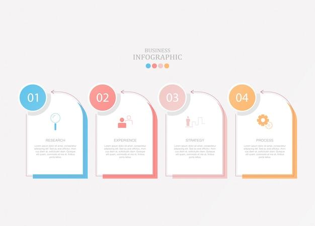 Basisinfographics voor huidig bedrijfsconcept. 4 opties, onderdelen of processen.