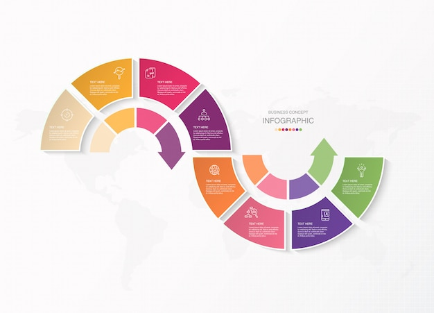 Basisinfographics voor huidig bedrijfsconcept. abstracte elementen, 8 opties.