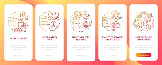 Basisinformatiepakket met ingestelde schermen voor mobiele app-pagina's voor bedrijven