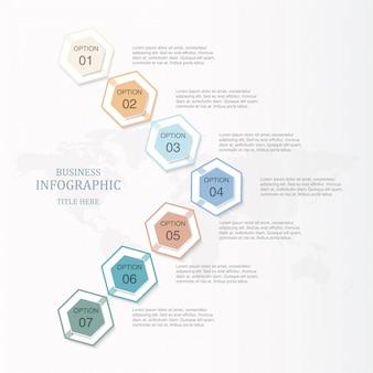 Basiskleur infographic hexagon 7 optie of stappen en pictogrammen voor bedrijfsconcept.