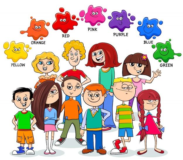 Basiskleuren educatieve pagina met kinderen