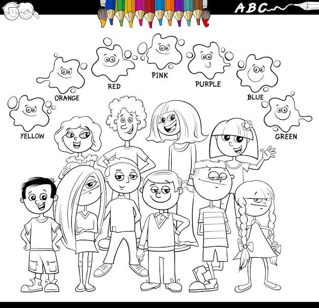 Basiskleuren kleurboek met kinderen