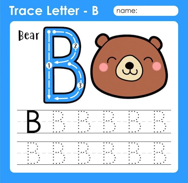 Basisoefening in hoofdletters alfabetletter - b voor beer