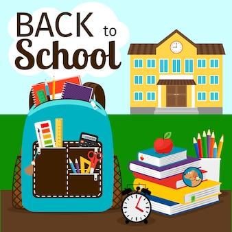 Basisonderwijs poster met gebouw, rugzak en appel. terug naar school vectorillustratie