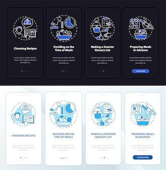 Basisprincipes van maaltijdplanning dag, nacht onboarding mobiele app paginascherm. doorloop 4 stappen grafische instructies met concepten. ui, ux, gui vectorsjabloon met lineaire nacht- en dagmodusillustraties