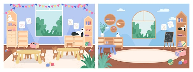 Basisschool klas zonder mensen egale kleur illustratie set