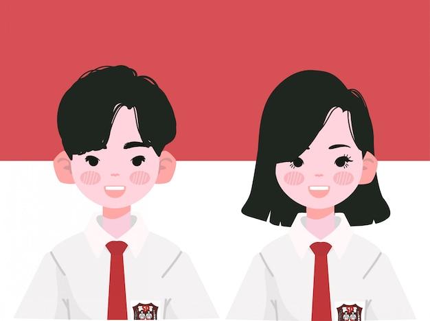 Basisschoolleerlingen in indonesische uniformen