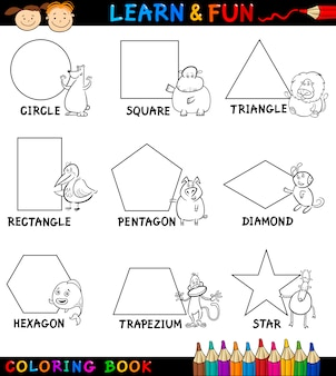 Basisvormen met dieren om in te kleuren
