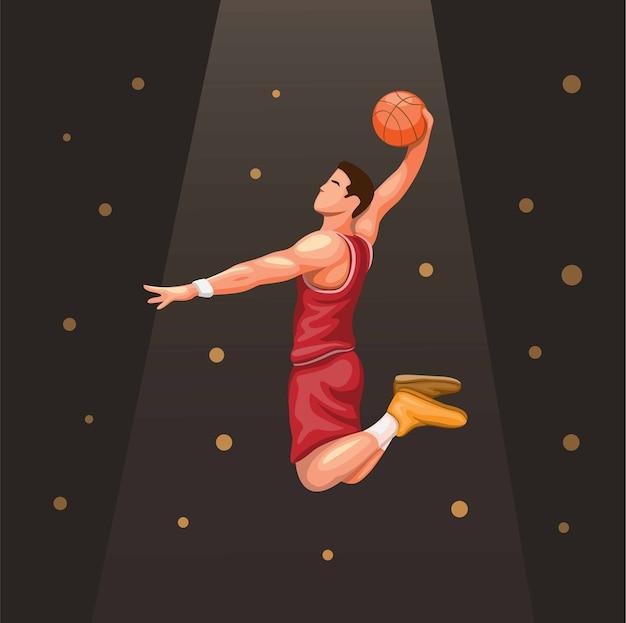 Basket-speler slamdunk onder schijnwerpers. sport atleet symbool concept in cartoon afbeelding