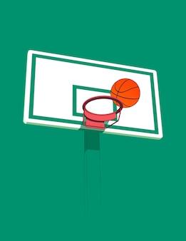 Basketbal 3d hoepel en bal gestileerde illustratie