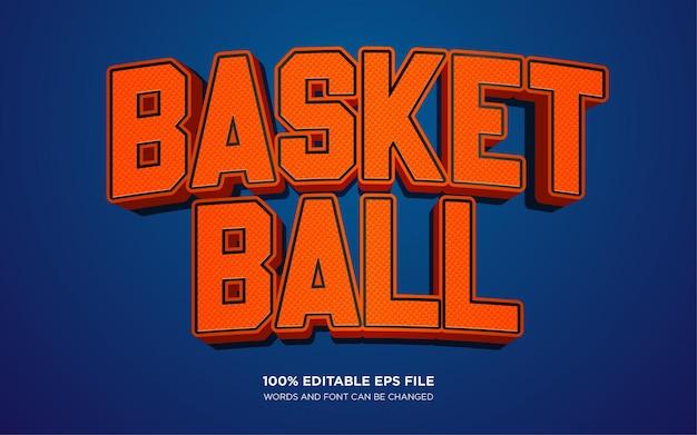 Basketbal 3d-tekststijl effect sjabloon