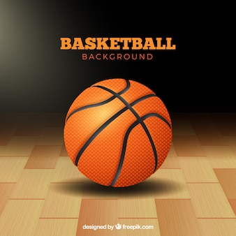Basketbal bal achtergrond op de vloer