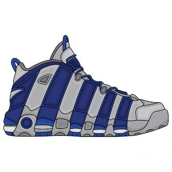 Basketbal blauwe en witte schoenen