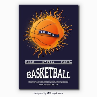 Basketbal brochure met verf ploetert