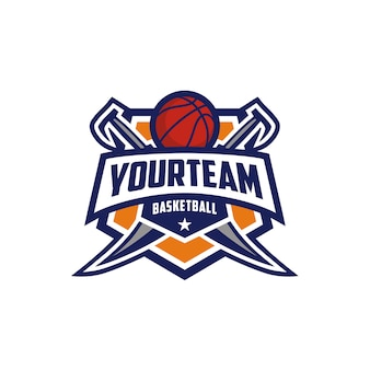 Basketbal club embleem badge logo ontwerp met zwaard