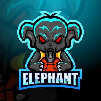 Basketbal dlephant speler mascotte logo ontwerp