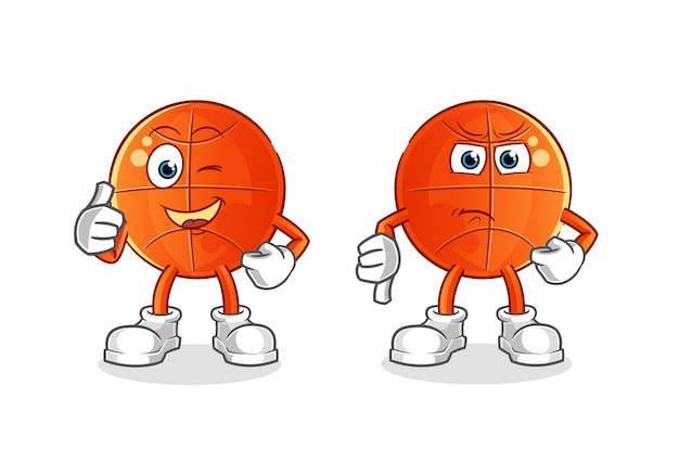 Basketbal duimen omhoog en duim omlaag cartoon. cartoon mascotte