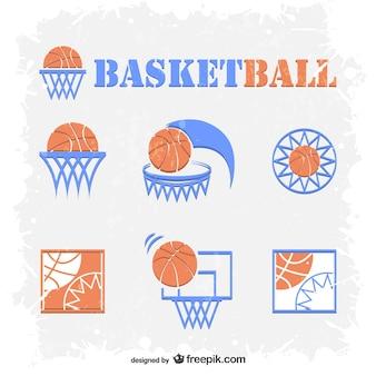 Basketbal emblemen gratis vector set