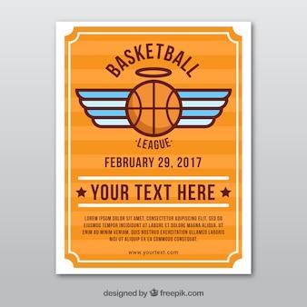 Basketbal folder met vleugels in plat ontwerp