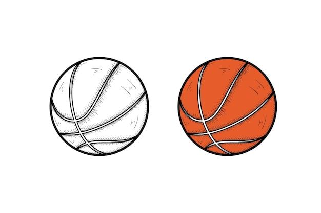 Basketbal hand getekende illustratie schets en kleur