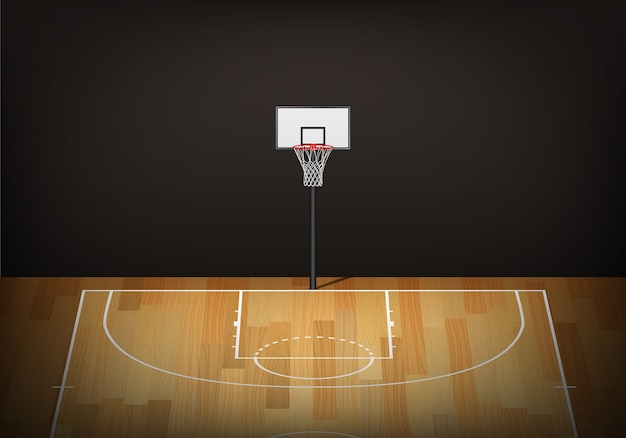 Basketbal hoepel op lege houten rechtbank.
