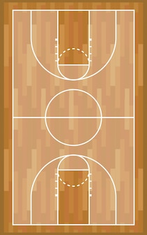Basketbal houten baan sportwedstrijd