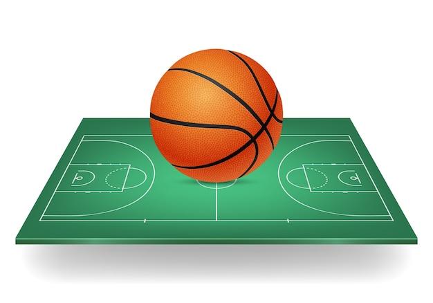 Basketbal icon - bal op een groene rechtbank.