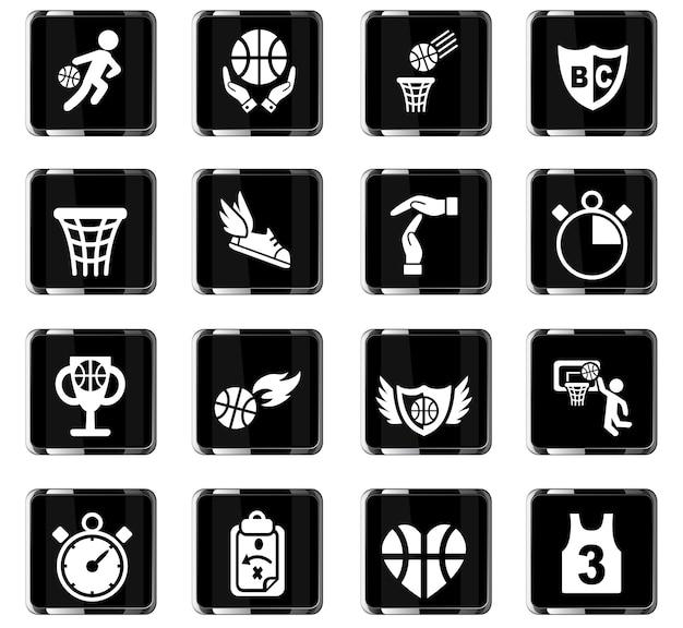 Basketbal icon set web iconen voor gebruikersinterface ontwerp