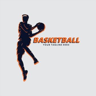 Basketbal jump shot-logo