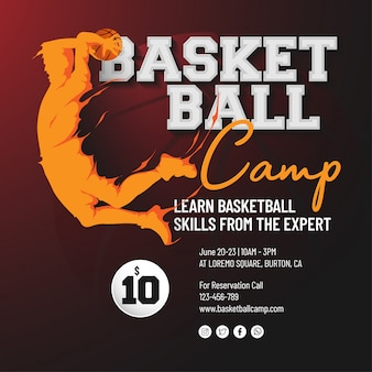 Basketbal kamp flyer sjabloon
