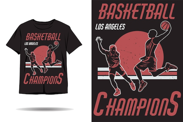 Basketbal kampioenen silhouet tshirt ontwerp