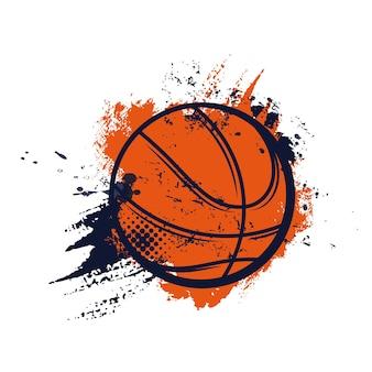 Basketbal kampioenschap of sport club league en varsity teamspelers teken van bal op halftoon