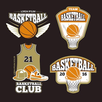 Basketbal label ingesteld