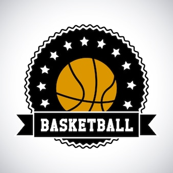 Basketbal label over witte achtergrond vectorillustratie