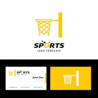 Basketbal-logo en visitekaartje
