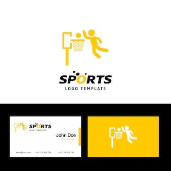 Basketbal-logo met visitekaartje ontwerp