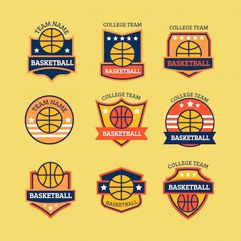 Basketbal logo set voor kampioenschap evenement of college team