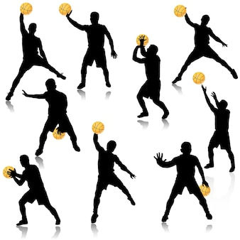 Basketbal man in actie silhouet set
