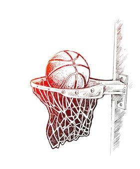 Basketbal mand geschoten hoepel spel hand getrokken schets vectorillustratie