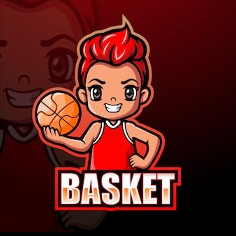 Basketbal mascotte esport illustratie