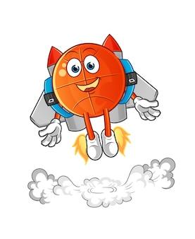 Basketbal met jetpack-mascotte. tekenfilm