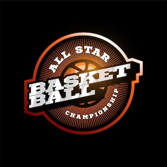 Basketbal moderne professionele sport typografie logo in retro stijl. ontwerp embleem, badge en sportief sjabloon logo ontwerp.