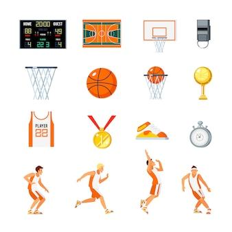 Basketbal orthogonale pictogrammen instellen