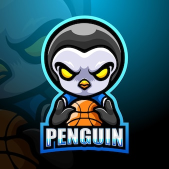 Basketbal pinguïn mascotte illustratie