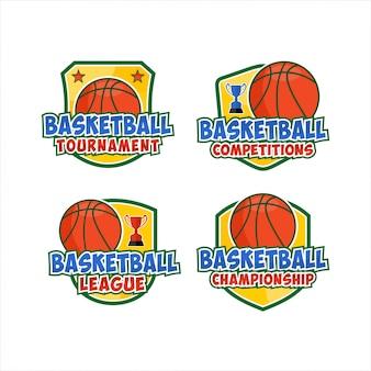Basketbal platte logo's illustratie set
