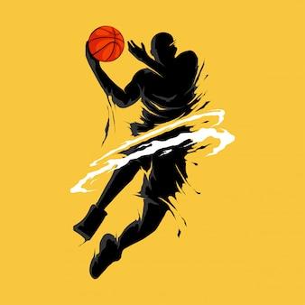 Basketbal slam dunk vlam silhouet speler
