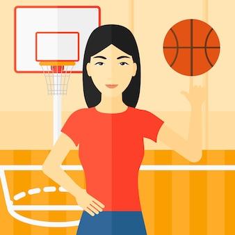 Basketbal speler draaiende bal